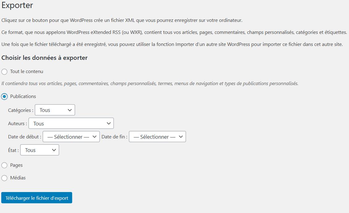 Page export sur un site simple.